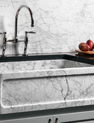 This Carrera sink will fit contemporary or traditional kitchens.